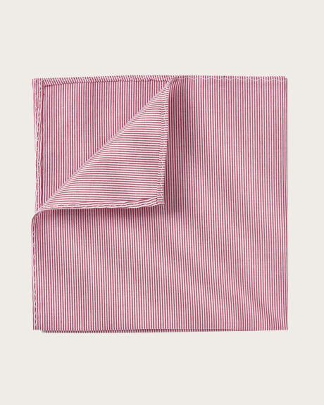 Textured pocket square in pink with micro stripes