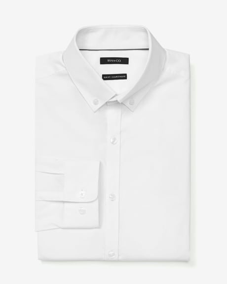 Slim fit stretch poplin dress shirt