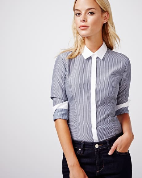 Tailored fit striped blouse