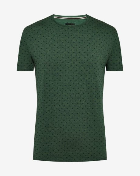 Allover print cotton blend t-shirt