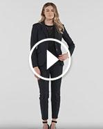 Pantalon ajusté en tissu raffiné extensible deux tons