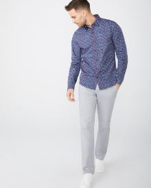 Tailored fit coral floral shirt