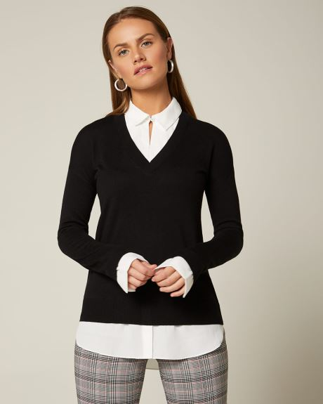 C&G 2-in-1 Mixed Media tunic Sweater