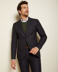 Slim fit Navy slub suit blazer