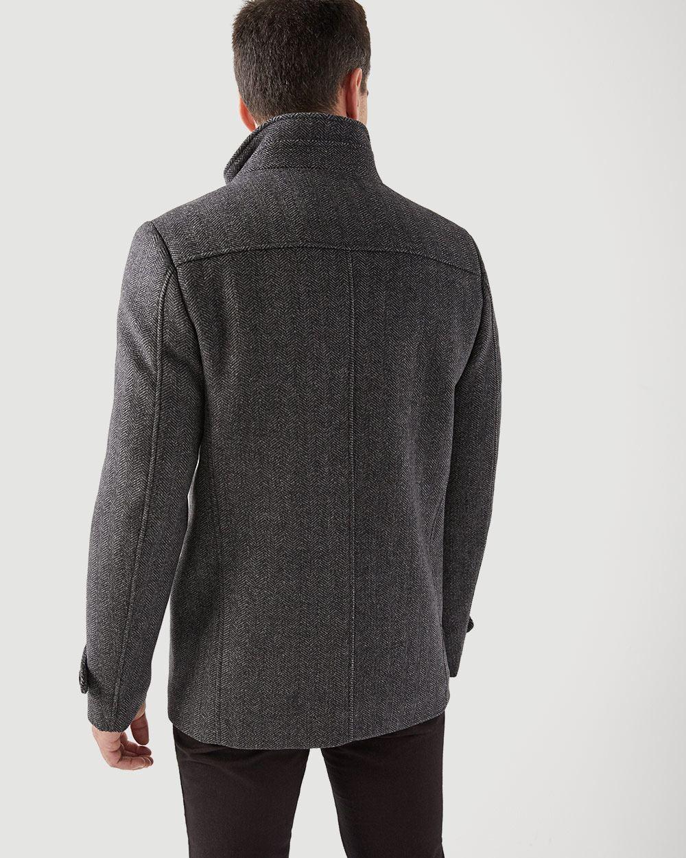 b13f4cab7d5 Herringbone Wool-blend car coat