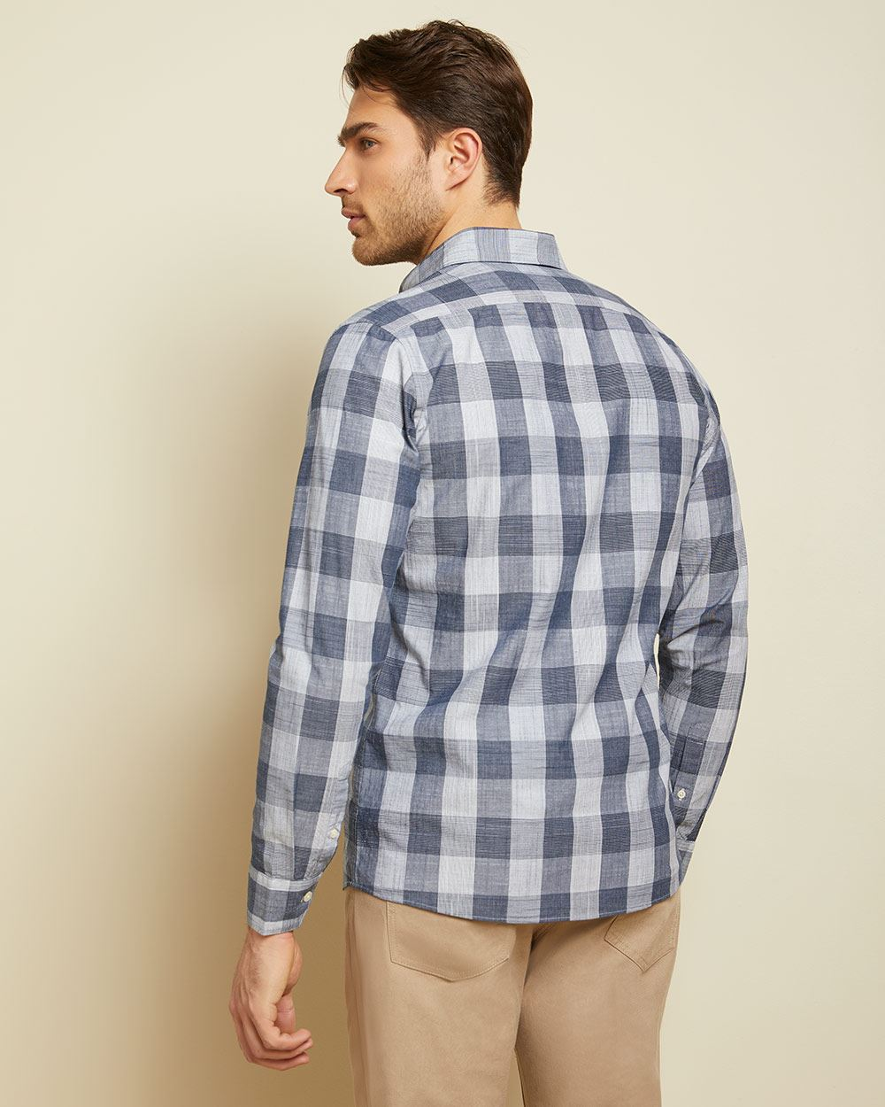 Tailored fit blue check shirt