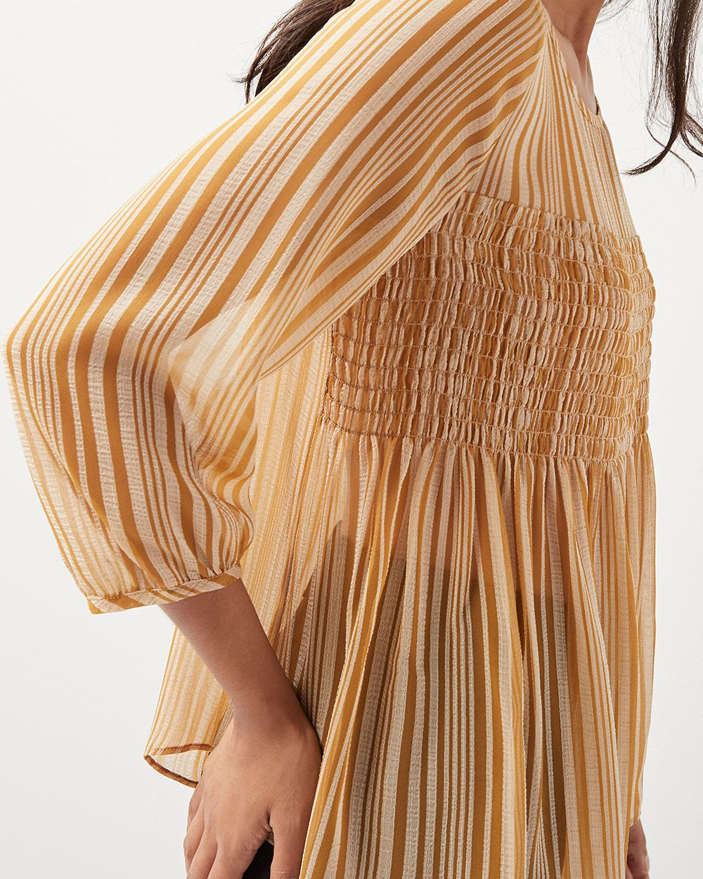 Striped chiffon blouse with smocking