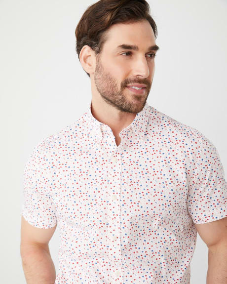 Tailored fit short sleeve small floral shirt