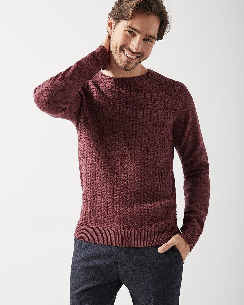Cable-knit front sweater