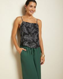 Silky crepe straight-neck cami