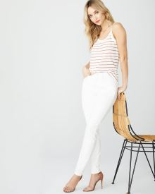 High-rise Sculpting skinny jeans in white denim