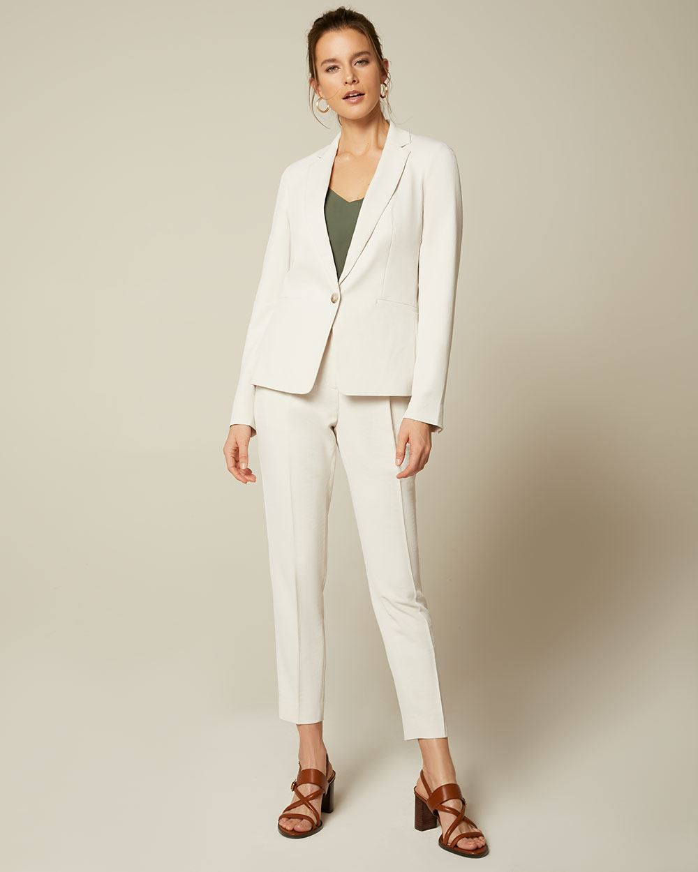 Textured Fitted Blazer With Notch Collar