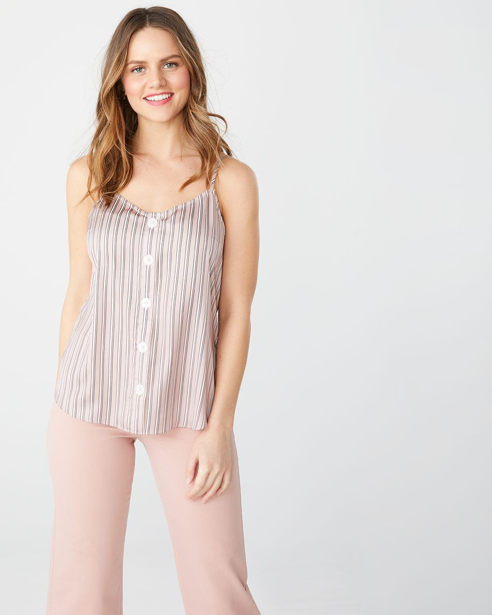 Silky cami with buttons