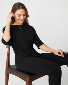 3/4 sleeve crepe jumpsuit