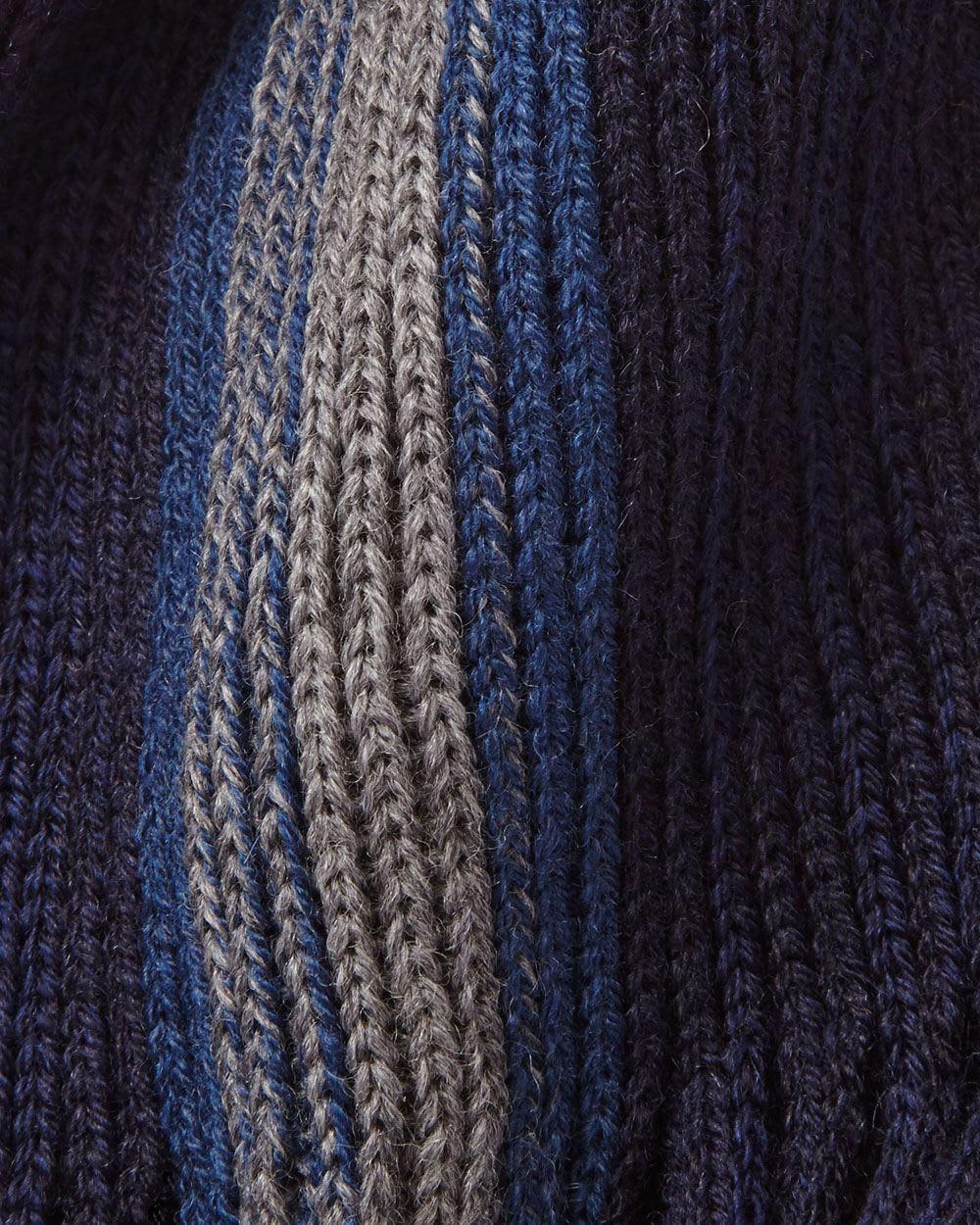 Mens Blue Gradient Stripe Wool Blend Scarf Rwco