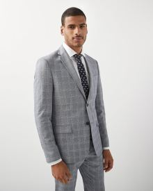 Slim Fit grey check blazer