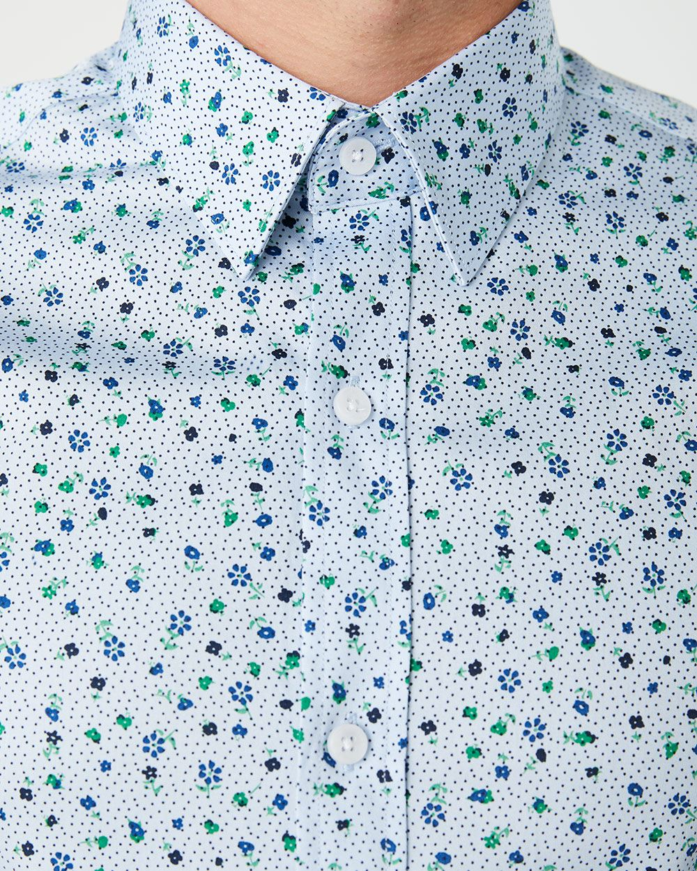 Slim Fit blue and green flowers Dress Shirt