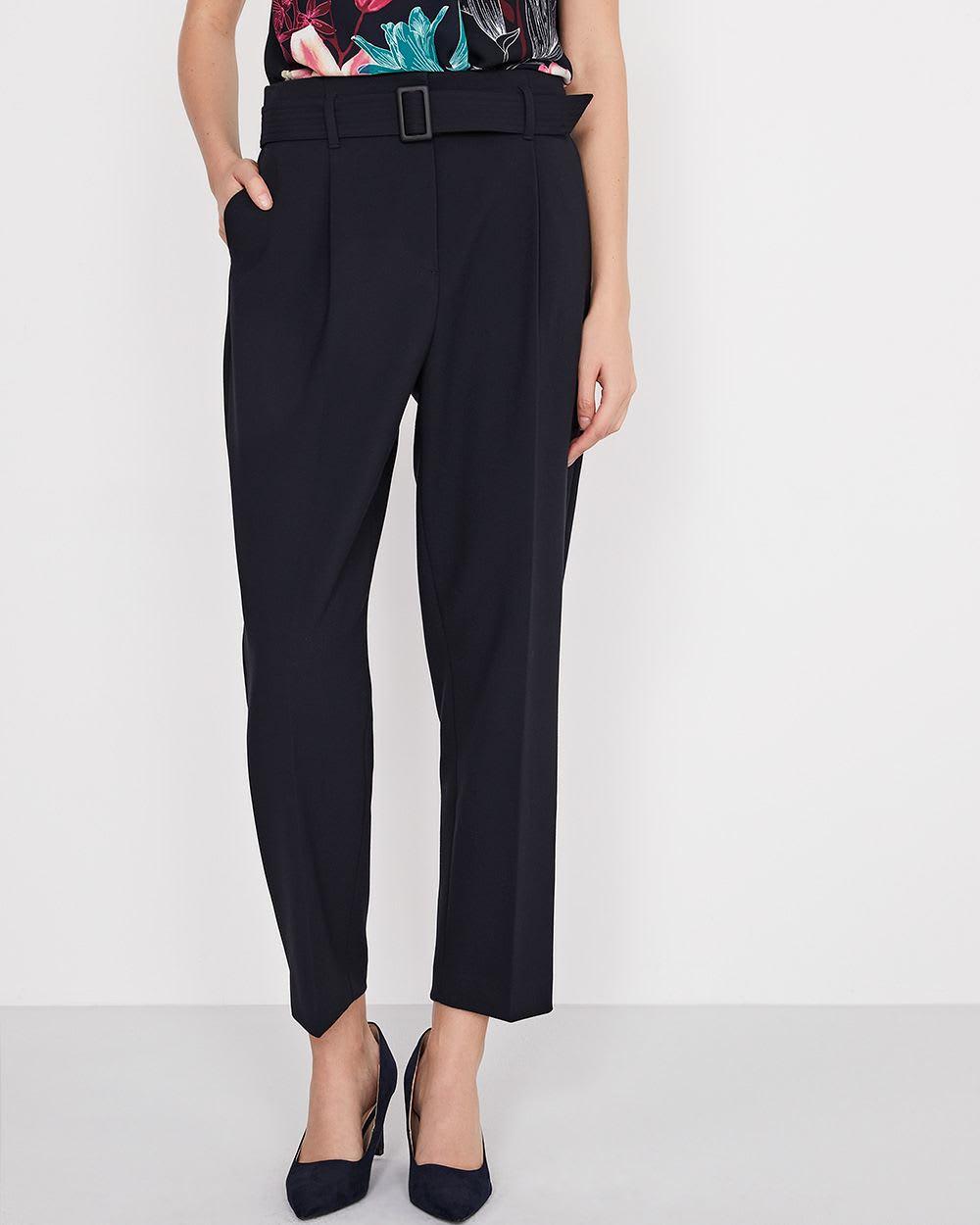 pantalon taille haute avec ceinture plis paper bag. Black Bedroom Furniture Sets. Home Design Ideas
