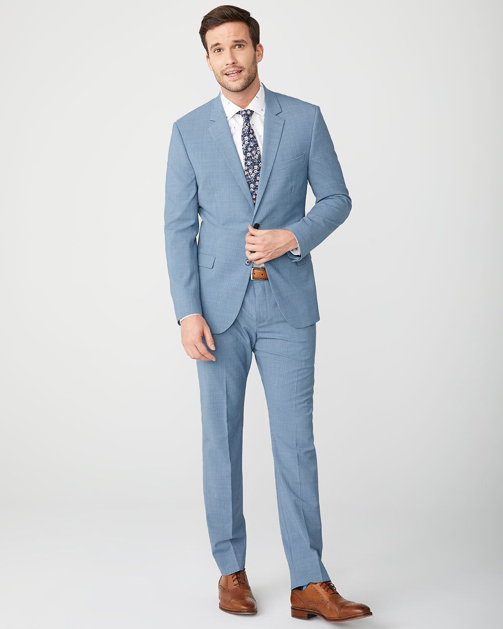 ef1e7c3677c6 Slim Fit Blue wool-blend Traveler suit Blazer   RW&CO.