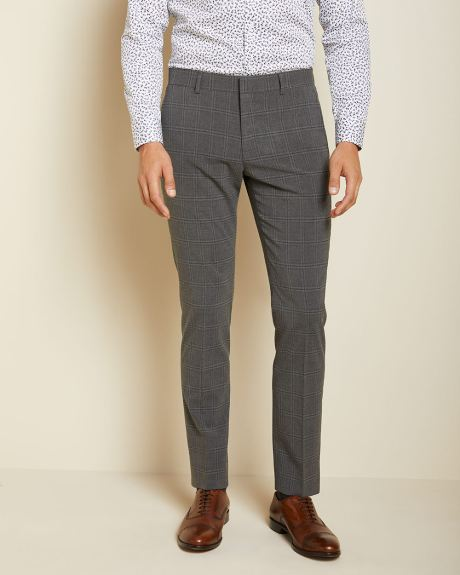 Slim Fit Coolmax (TM) Dark grey check suit pant - 34''