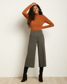 Two-Tone Tweed High-Waist Cropped Wide Leg Pant