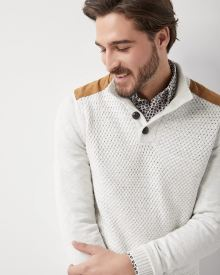 Buttoned Mock-neck Sweater with shoulder patch