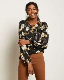 Puffy Sleeve Blouse with Pleated Neckline