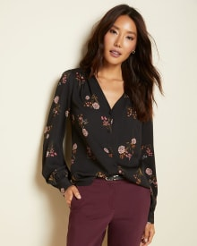 V-neck button-down blouse