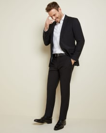 Essential Athletic Fit black wool-blend suit Pant