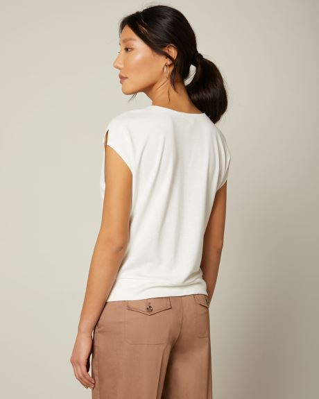 Slub Boat Neck Twist Hem T-Shirt