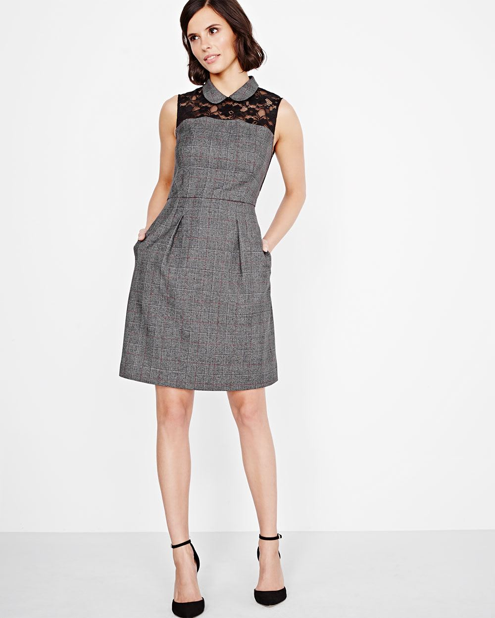 Plaid Fit and Flare Dress with lace yoke | RW&CO.