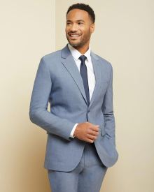 Tailored fit two-tone chambray suit blazer