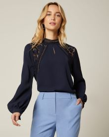 Lace Detailed Puffy Sleeve Blouse