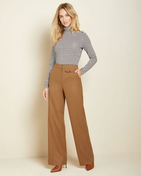 High-waist flannel Signature fit wide Leg pant
