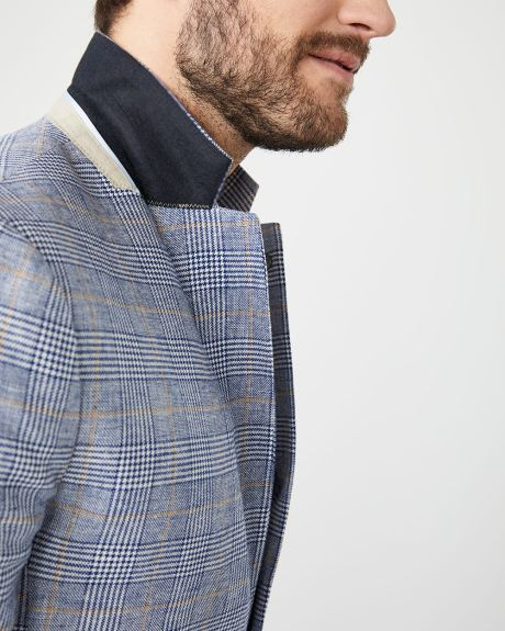 Slim fit glen check linen-blend blazer