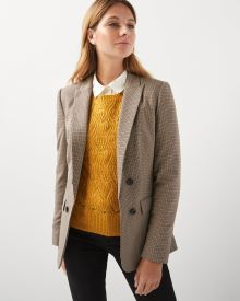 Stretch Houndstooth faux double-breasted blazer