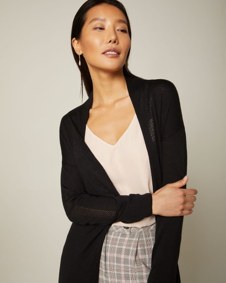 Long Cashmere-like belted cardigan