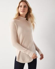 Cashmere-like Funnel-neck tunic sweater