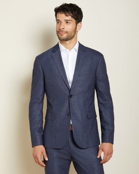 Athletic Fit blue prince of wales suit Blazer