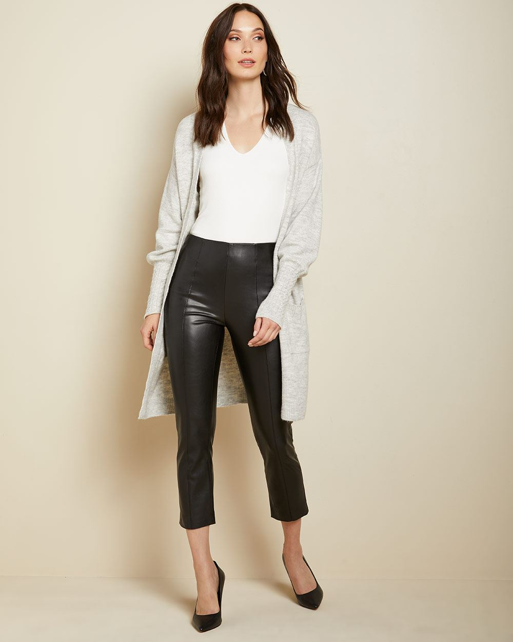 High-waist cropped straight leg Faux leather legging Pant