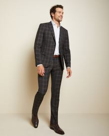 Slim Fit brown check wool-blend suit pant