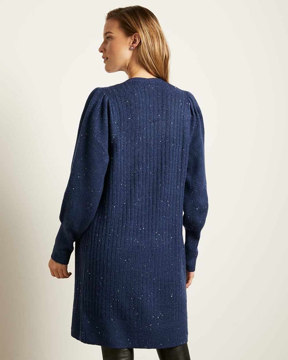 Nepped Puffy Sleeve Open Cardigan