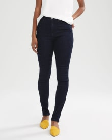 High-waisted skinny jeans in dark blue denim - 32''