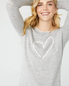 Cashmere-like heart-embroidered sweater