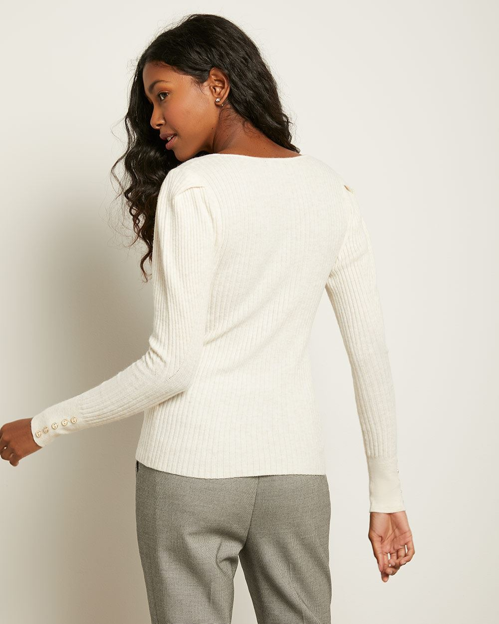 Ribbed Gigot Sleeve Sweater