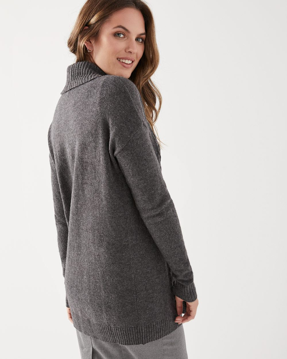 Cashmere-like braided cardigan