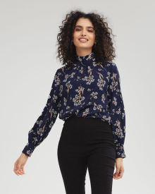 Lace-Trimmed Popover Blouse with Mock-Neck
