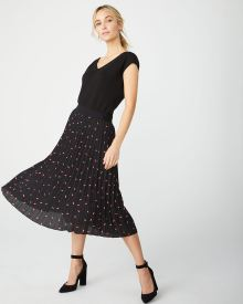 Printed lips pleated skirt