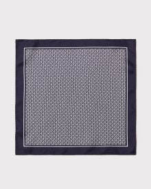 White and navy pattern pocket square