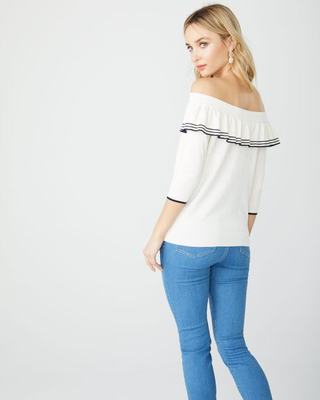 Frilled off-shoulder sweater